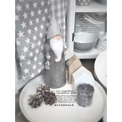 Babbo Natale in terracotta Joy grigio 25 cm